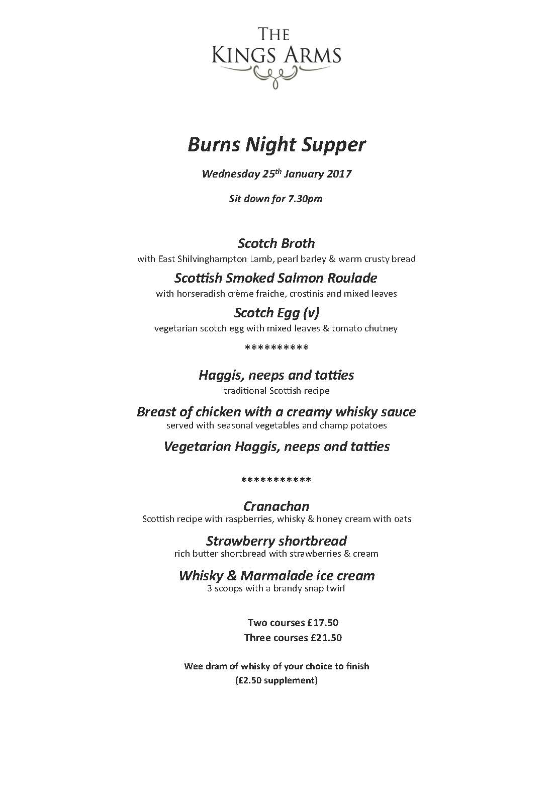 Burns Night Supper 2016