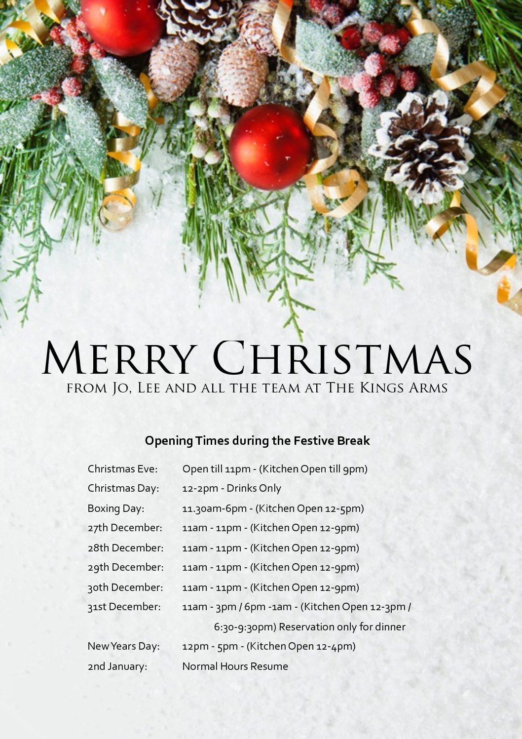 Christmas Opening Times | The Kings Arms - Portesham