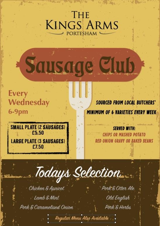 Sausage Club – Every Wednesday,  6-9pm