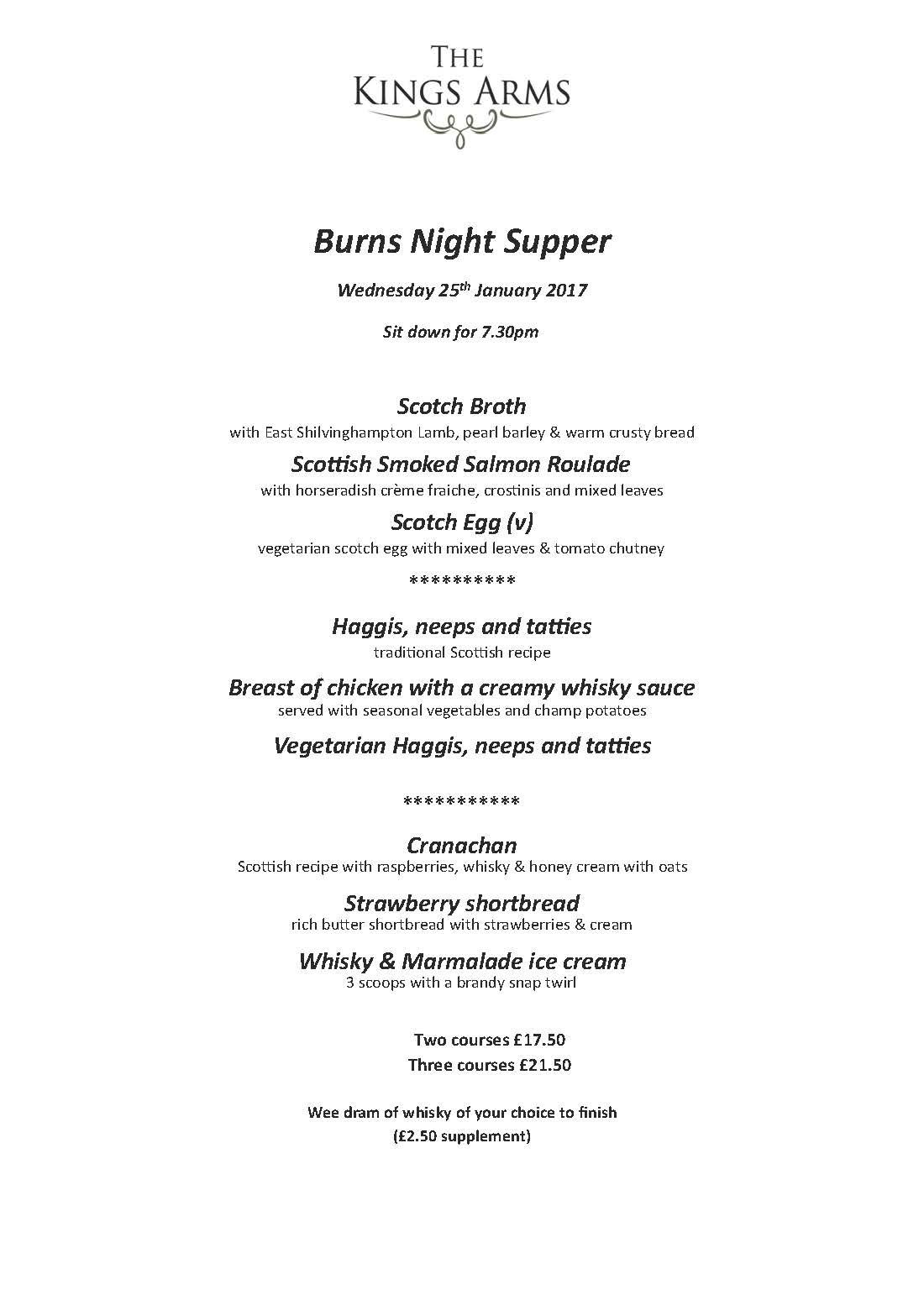 Burns Night Supper 2016