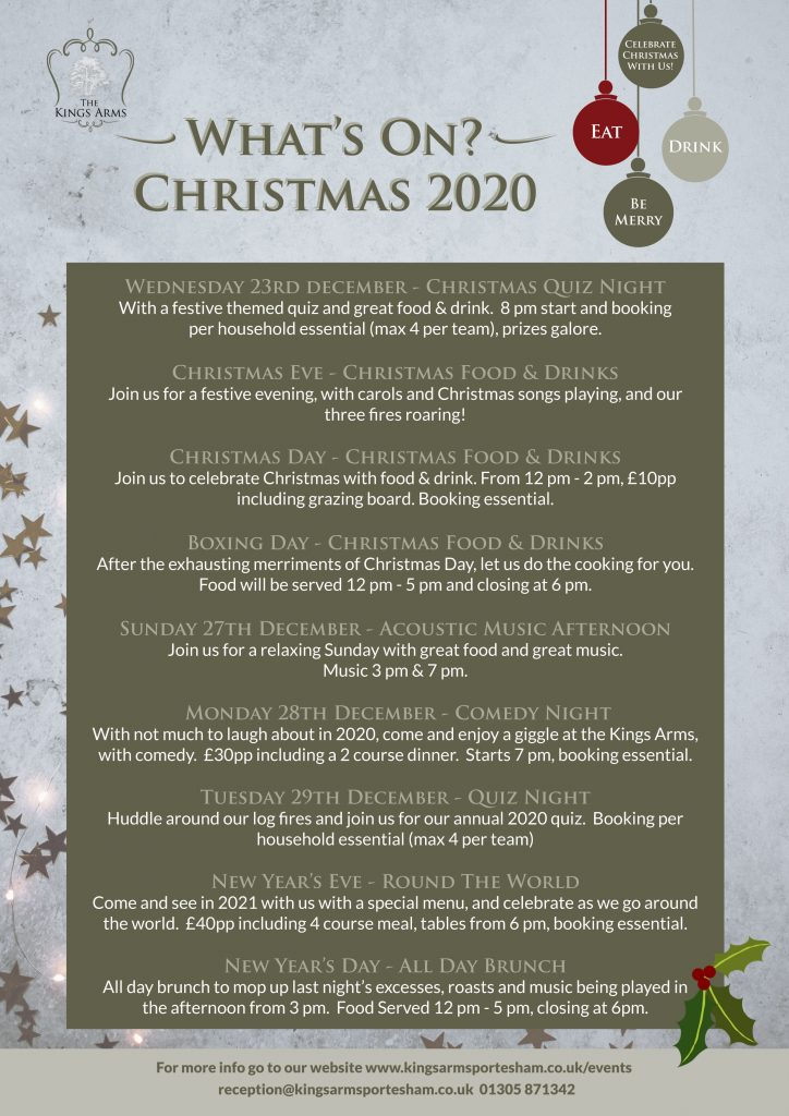 Christmas Events Whats on Christmas 2020 Kings Arms Portesham